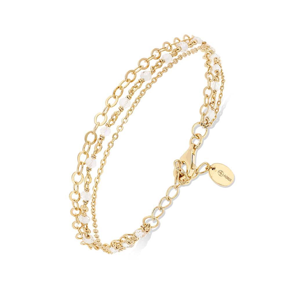 Bracelet argent doré triple chaine petite perles pierre de lune blanche 3