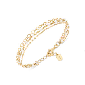 Bracelet argent doré triple collier petite perles pierre de lune blanche 7