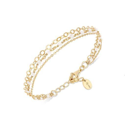 银手链三重项链小珍珠白色月光石3