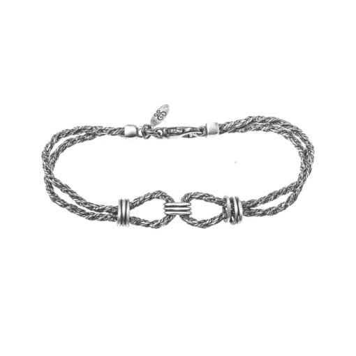 Silver bracelet with double marine knots man 3