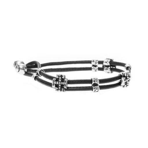 Bracelet silver and leather cross multi links man 3