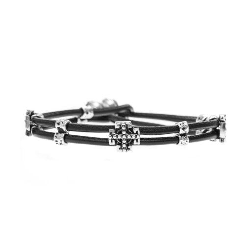 Bracelet silver and leather cross multi links man 2