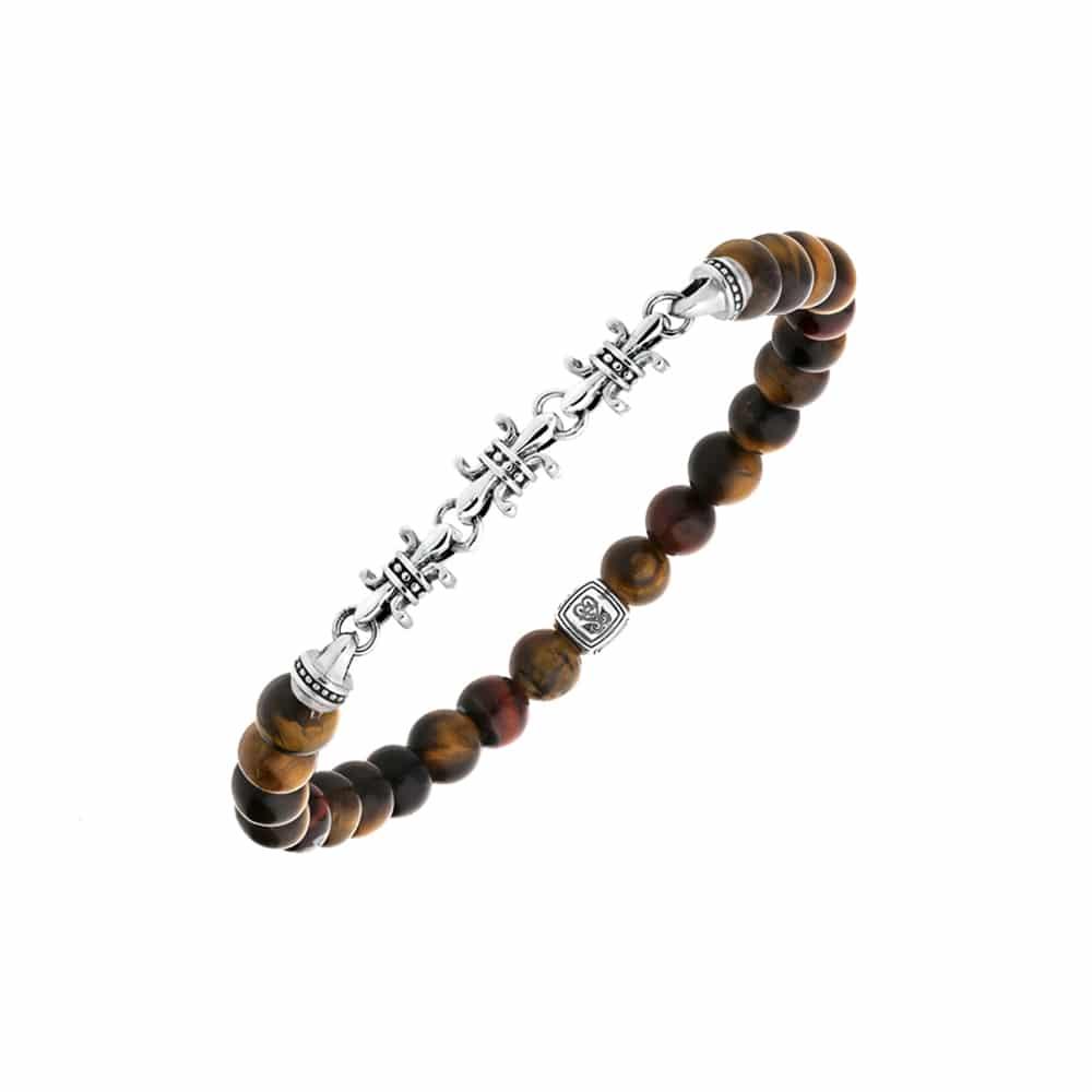 Bracelet argent fleurs de lys œil de tigre 3