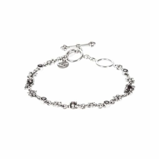 Silver bracelet with flowers & stones 3