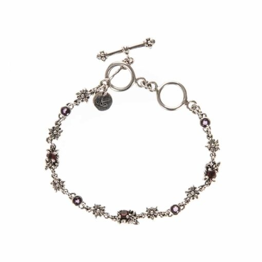 Silver bracelet with flowers & stones 2