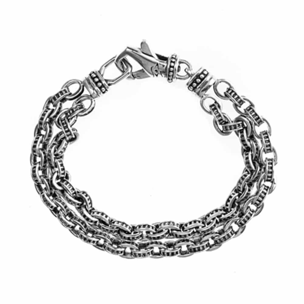 Bracelet argent maillons mécanique 1