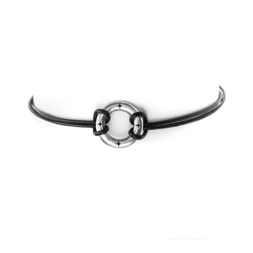 Bracelet argent massif cuir et anneau homme 3