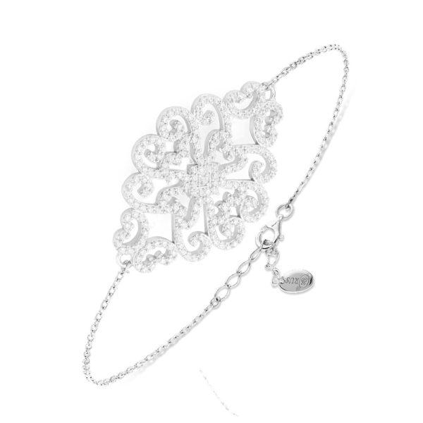 带有花卉图案的银色手链,镶有Rhodia 1