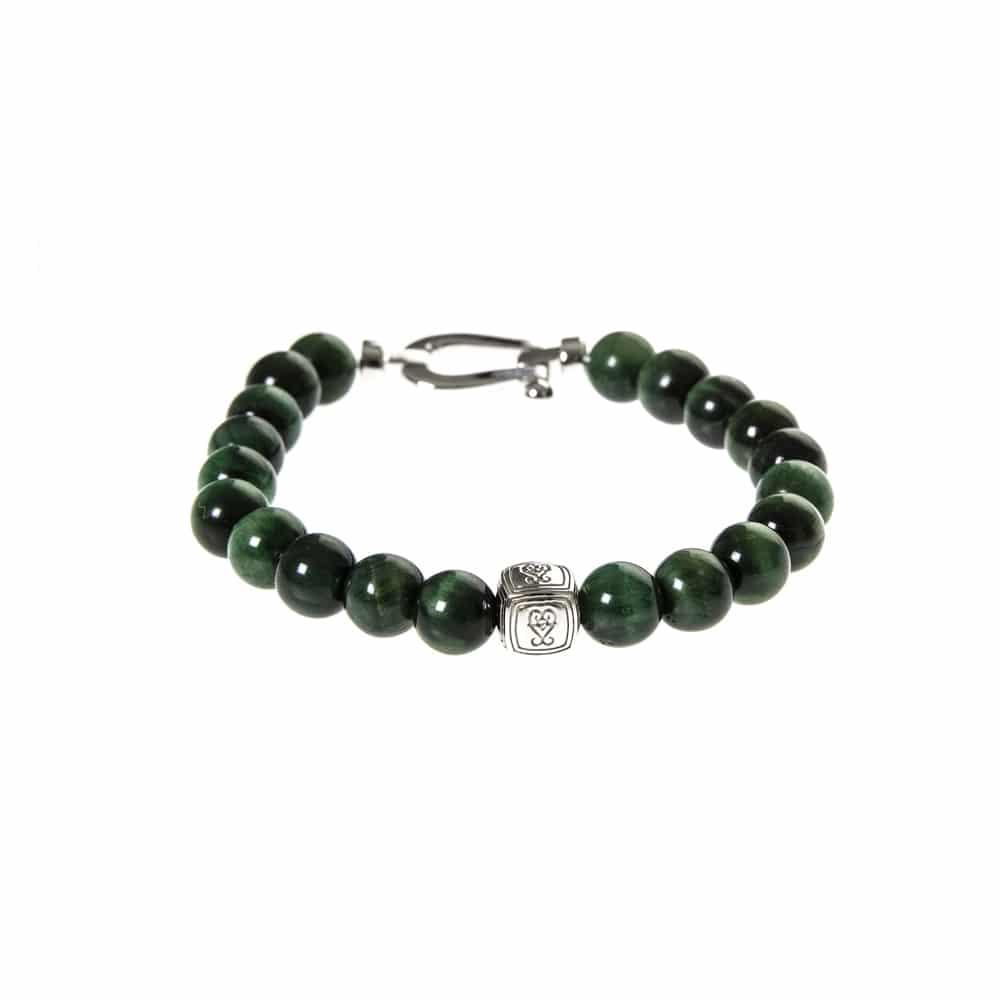 Bracelet argent mousqueton et pierres naturelles tigre vert 4