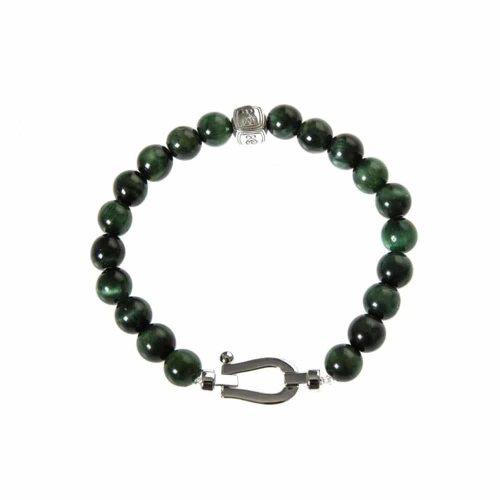 Bracelet argent mousqueton et pierres naturelles tigre vert 3