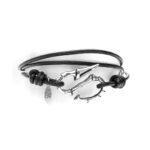 Bracelet homme argent hameçon cordon cuir réglable 4