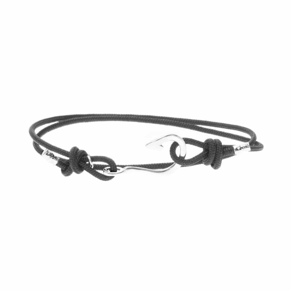 Bracelet homme argent hameçon lisse cordon cuir réglable 3
