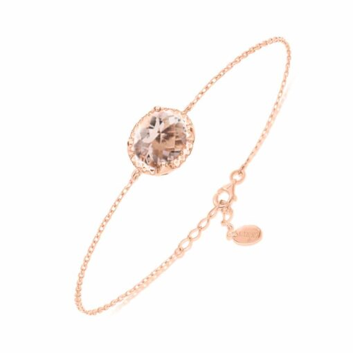 粉水晶粉红银手链3