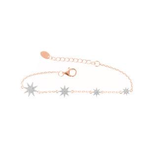 粉红银星形花纹手链6