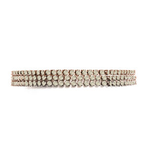 粉红银手链配钻石铆钉3行套装7