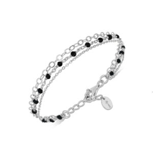 银色手链三重项链小号黑色尖晶石珍珠3
