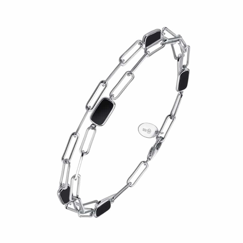 Bracelet chaine argent celine pierre onyx 3