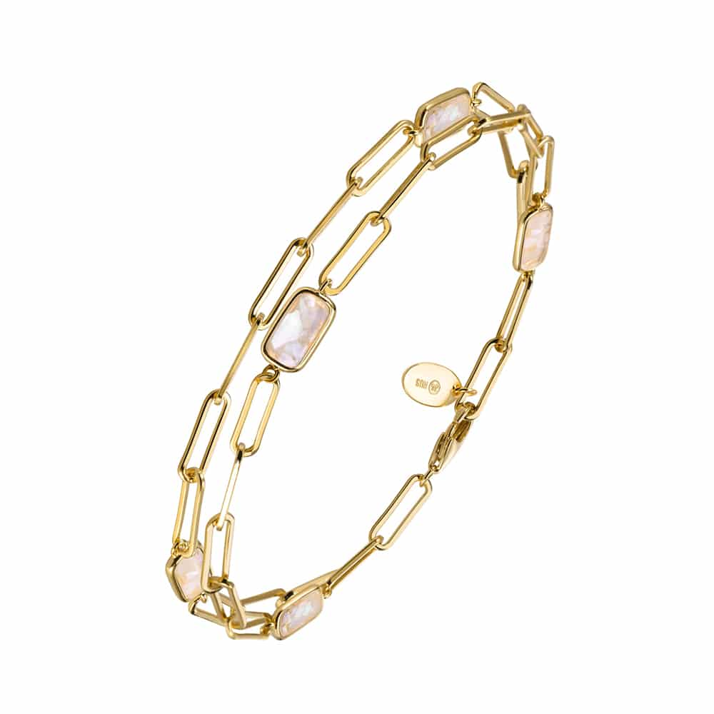 Bracelet chaine argent doré celine pierre nacre 3