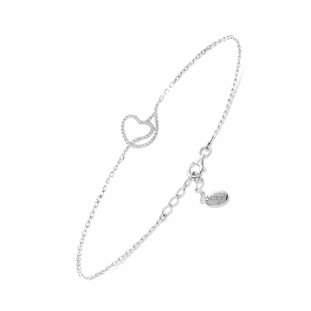 Bracelet cœur argent romance 3