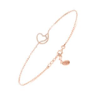 银色粉红色浪漫心形手链5