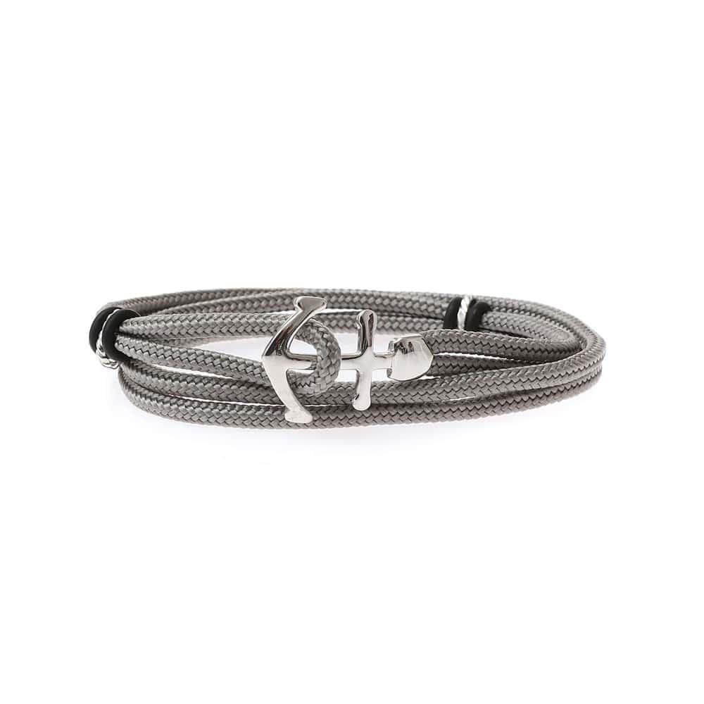 Bracelet cordon double tour ancre gris 3