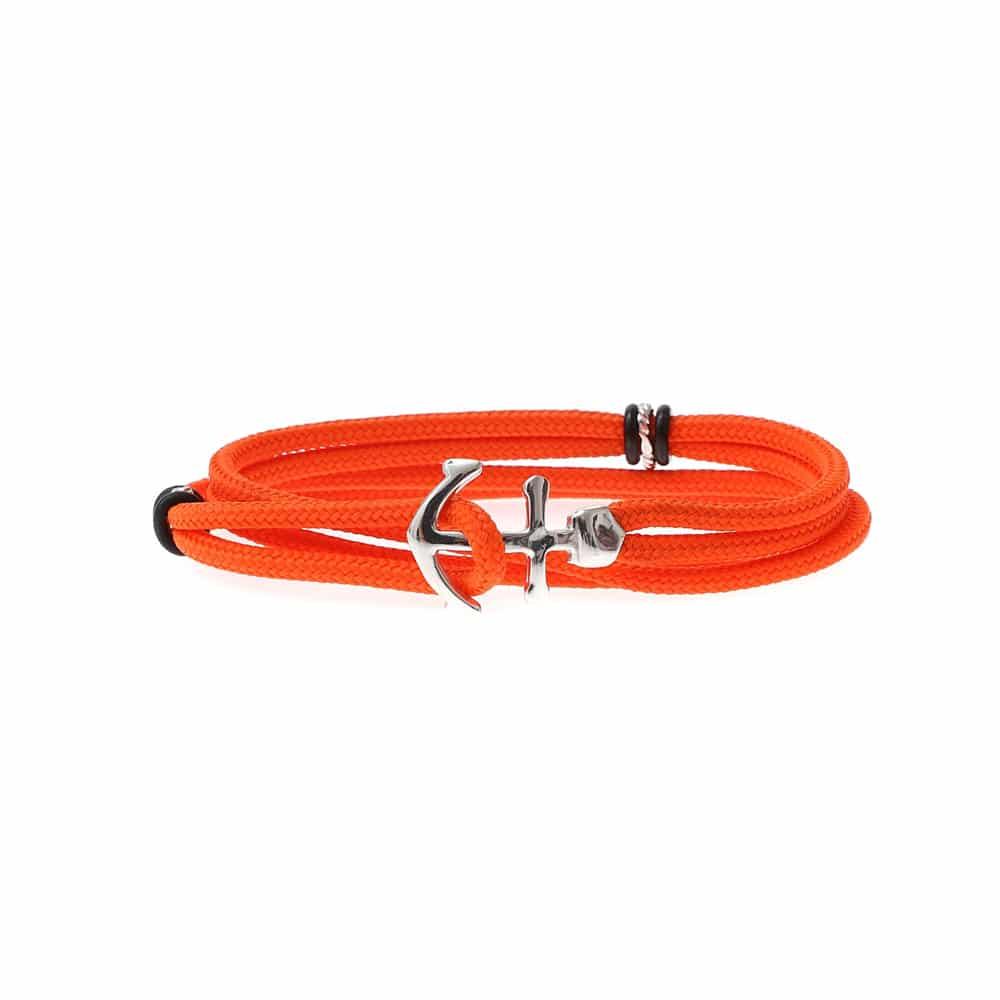 Bracelet cordon double tour ancre orange 3