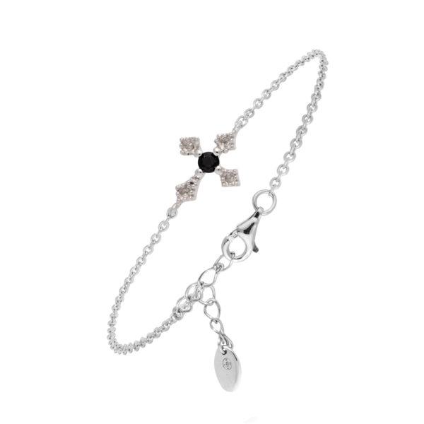 铑银手链Southern Cross黑色尖晶石1