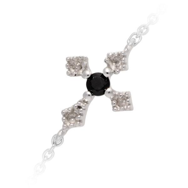 铑银手链Southern Cross黑色尖晶石2