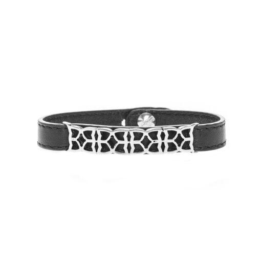 Leather and silver bracelet antique design man 3