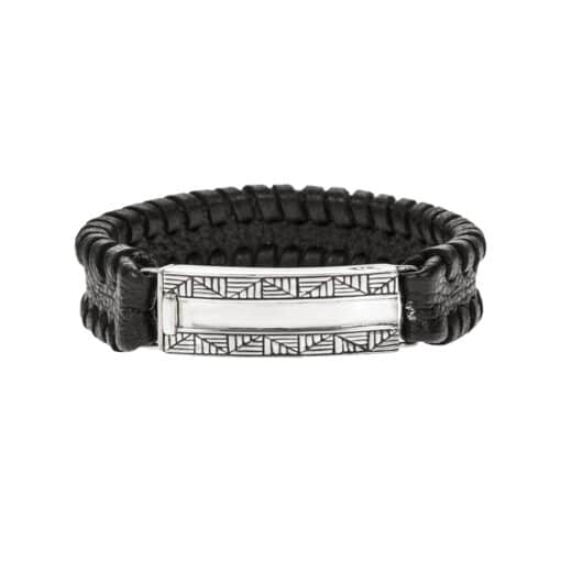 Black and silver geometric leather bracelet 3