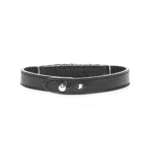 Inca style leather and silver bracelet for men 4