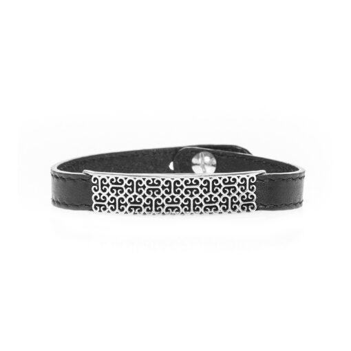 Men's leather and silver Tuareg style bracelet 3