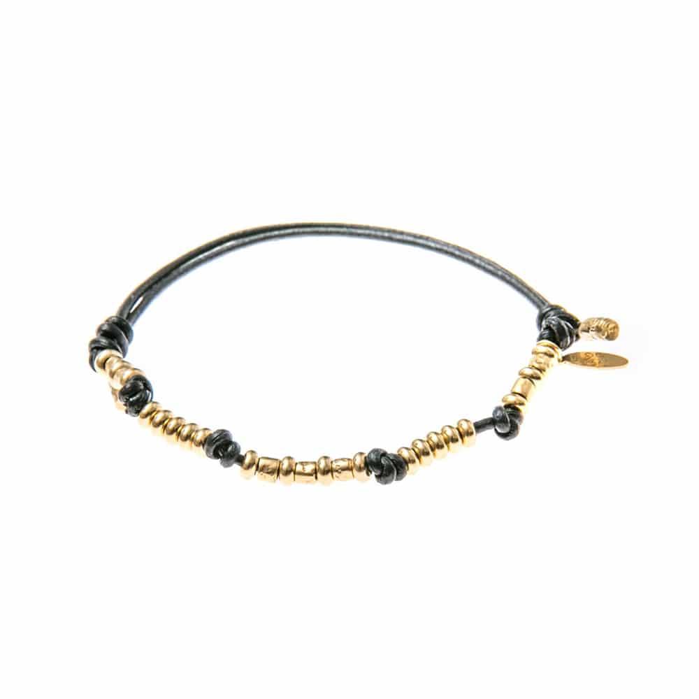 Bracelet cuir homme perles argent doré 2