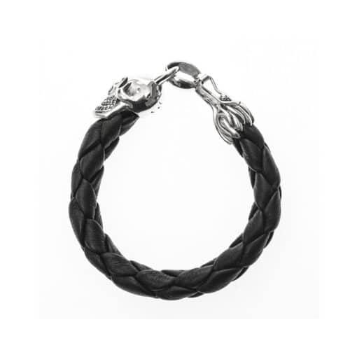 Bracelet homme cuir tête de mort noir et argent 6