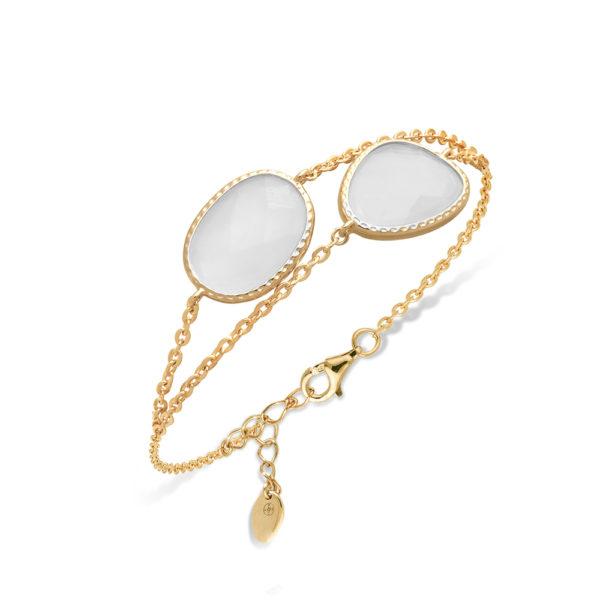 Bracelet double argent doré victoria cristal blanc 3