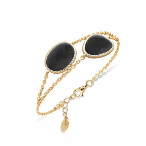 Victoria black crystal double golden silver bracelet 3