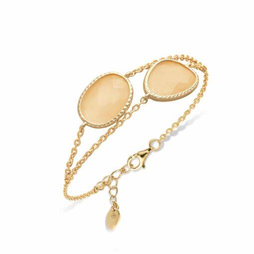 Bracelet double argent doré victoria cristal pêche 3