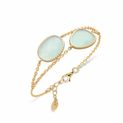 Double golden silver bracelet victoria water green crystal 3