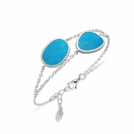 Bracelet double argent victoria cristal turquoise 3