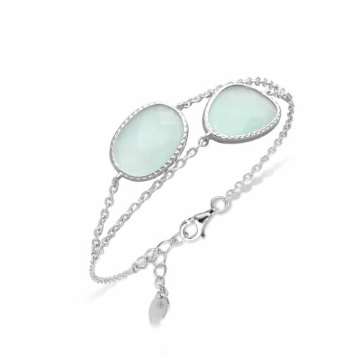 Double silver bracelet victoria crystal green water 3