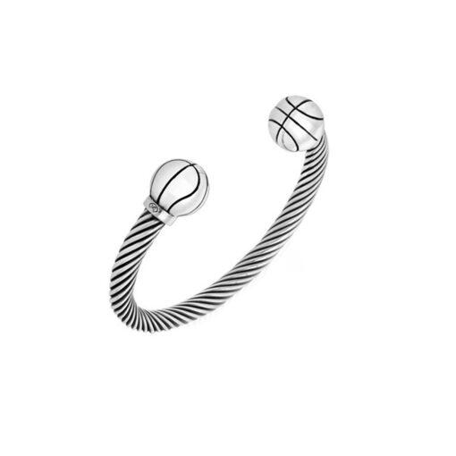 男士银色篮球球手链3
