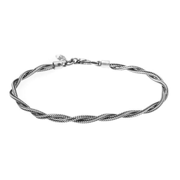 男士银色编织手链2线1