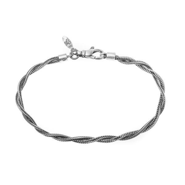 男士银色编织手链2线2