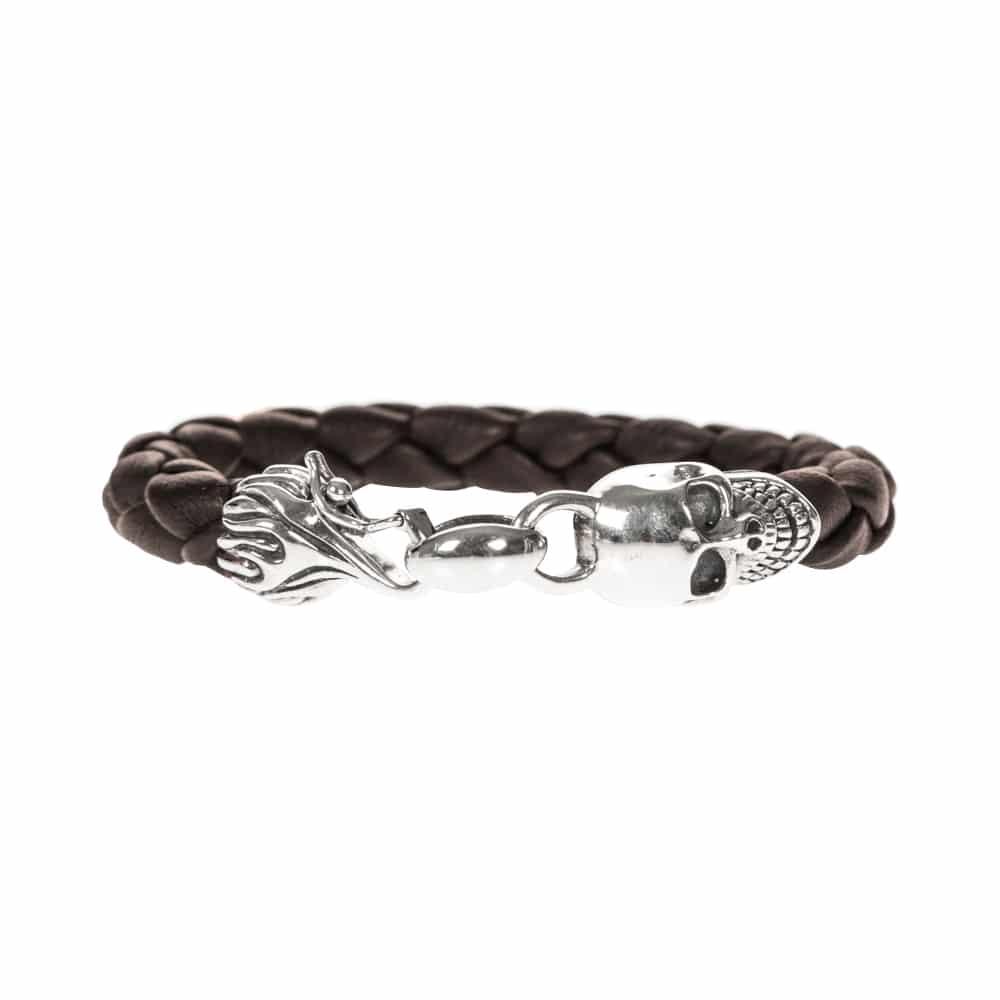 Bracelet homme cuir tête de mort marron et argent 3