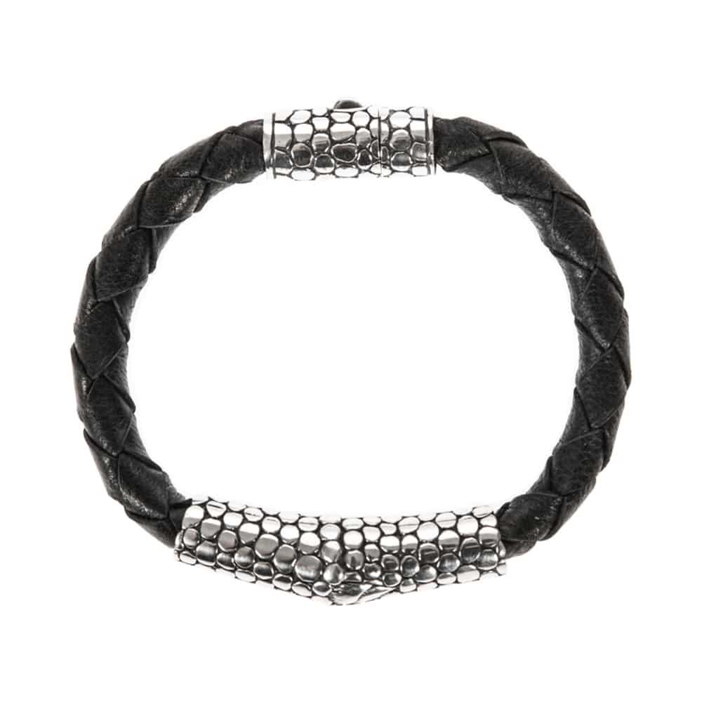 Bracelet homme exotique écaille cuir noir et argent 5