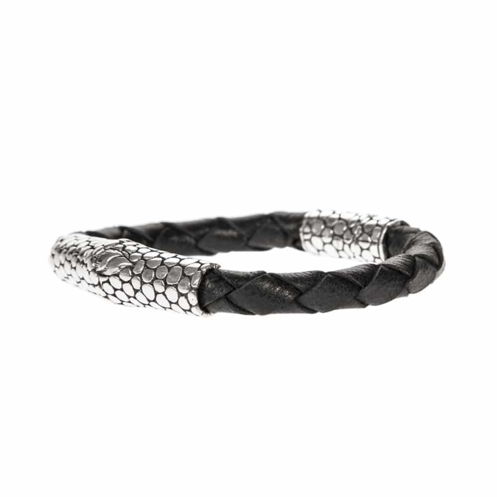Bracelet homme exotique écaille cuir noir et argent 4