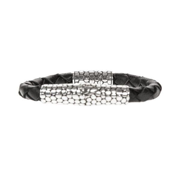 Bracelet homme exotique écaille cuir noir et argent 1