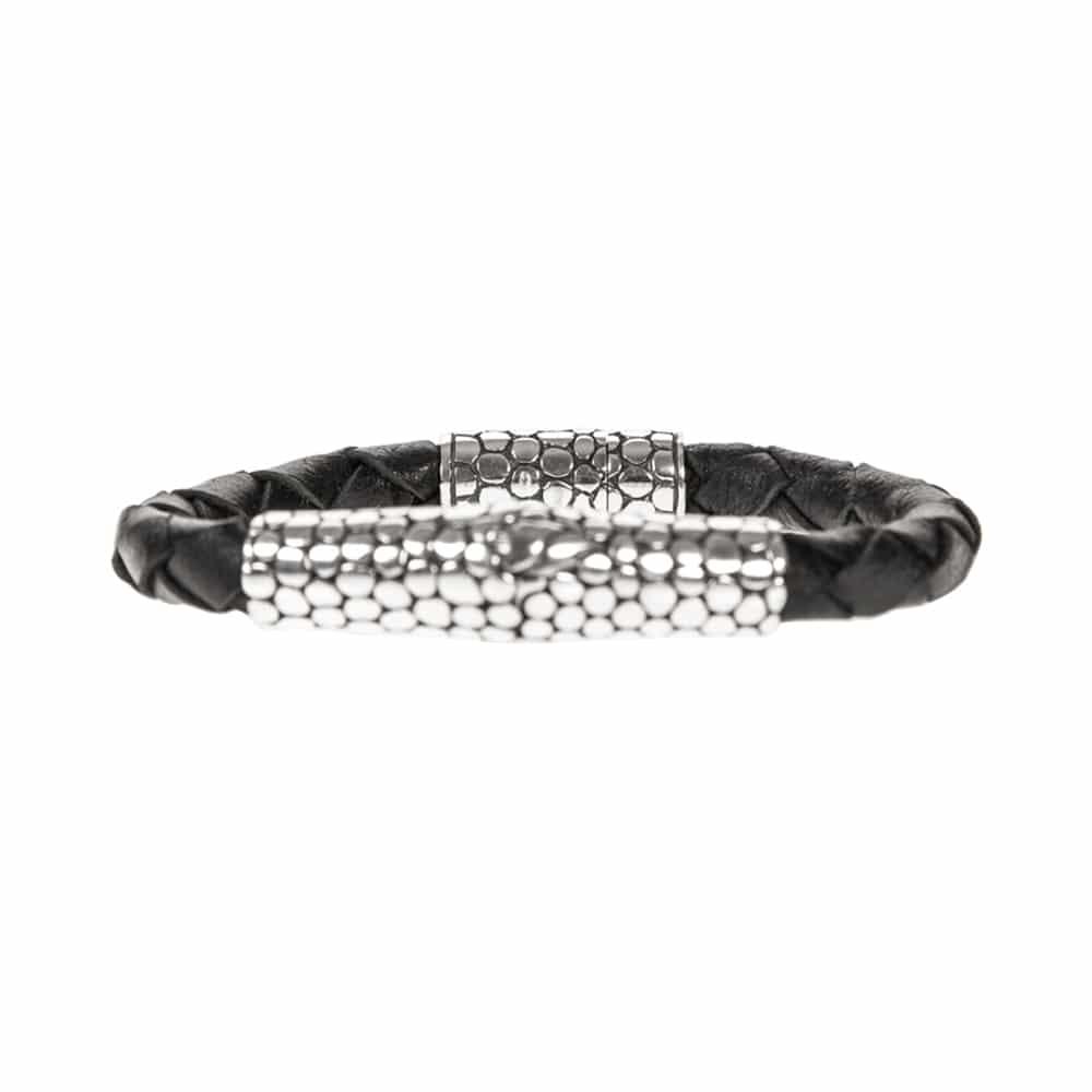 Bracelet homme exotique écaille cuir noir et argent 3