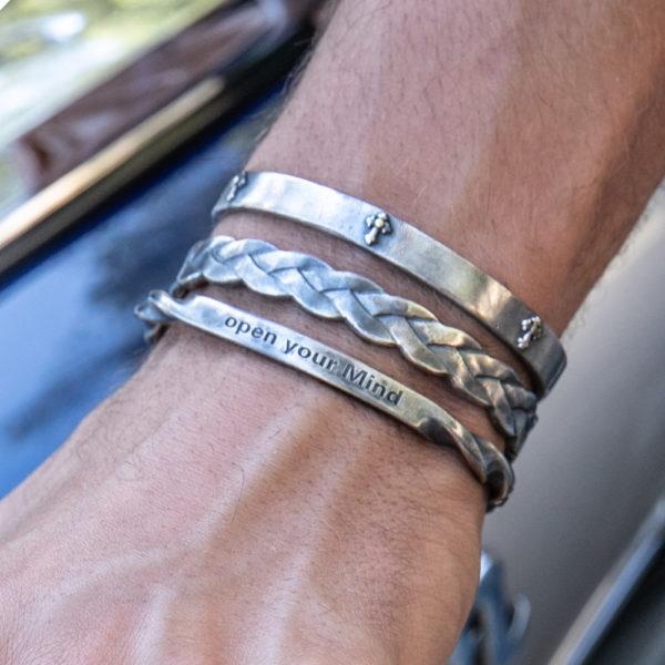 Bracelet homme jonc argent entrelacés 2