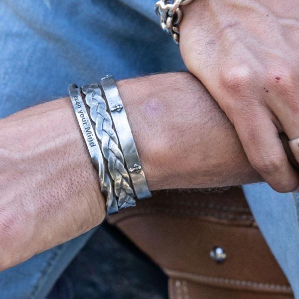 Bracelet homme jonc argent entrelacés 5